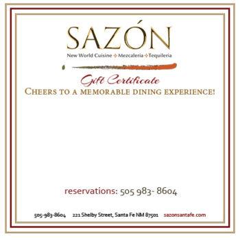 Sazon gift certificate
